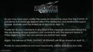 Immagine twitter Final Fantasy 7 R distribuz