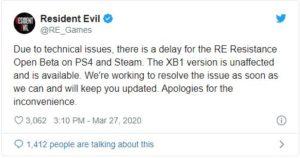 Resident Evil 3 twitter message