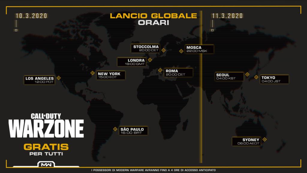 Call of Duty Warzone - Orari di Lancio