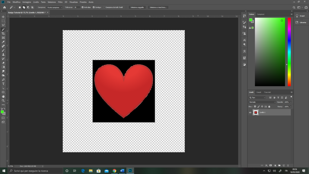 Importare l'immagine su Photoshop