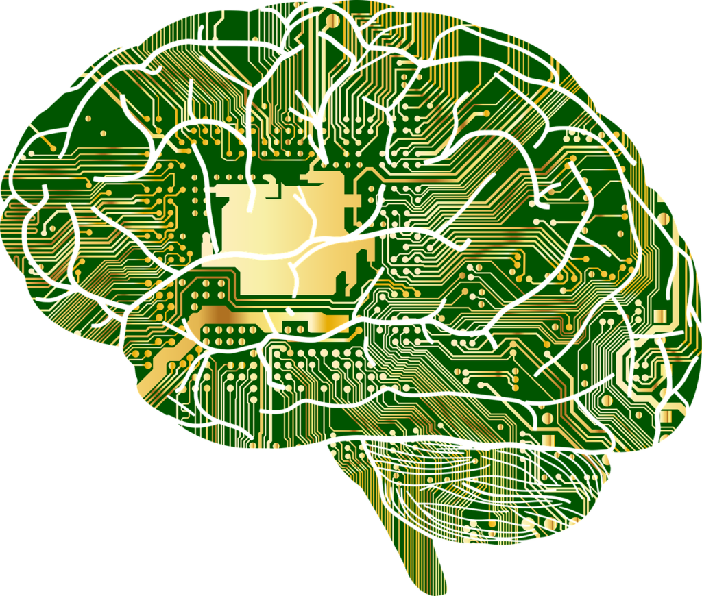 psicologia e videogiochi, l'immagine rappresenta un cervello formato da circuiti elettrici, verdi e dorati