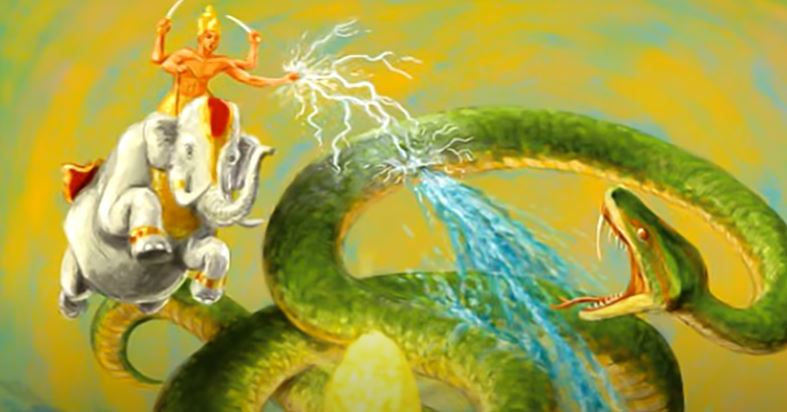 Indra on his Elephant Fighting the drought snake