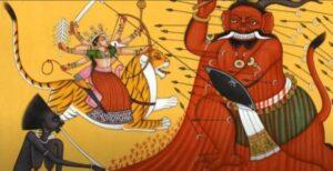 Durga fights Mahaishasura Durga schlagt Mahaishasura