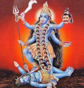 Maha Kali walks over Shiva