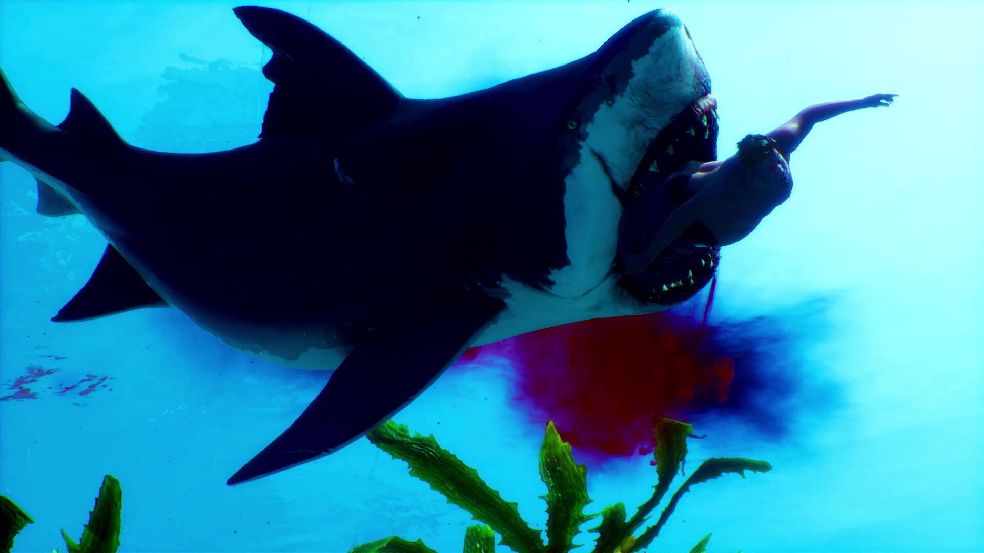 Maneater squalo che mangia un umano